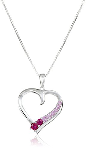 d Shaped Created Ruby and Created Pink Sapphire Heart Pendant Necklace (Created Pink Sapphire Heart)