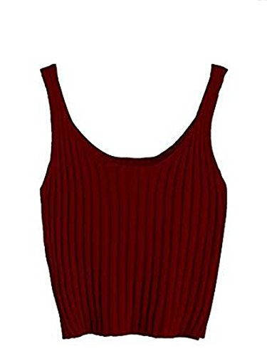 SweatyRocks Women's Ribbed Knit Crop Tank Top Spaghetti Strap Camisole Vest Tops (Medium, Burgundy) (Crop Tops For Winter)