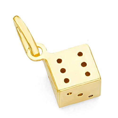 14k Gold Dice Charm - 14k Yellow Gold Tiny Dice Charm Pendant