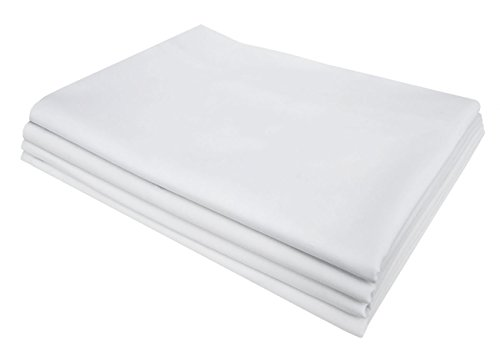 (PHF Pillowcase 200 Thread Count Hotel Collection Cotton Blend 4 Pack Solid Percale Wrinkle, Fade Resistant Queen Size White)