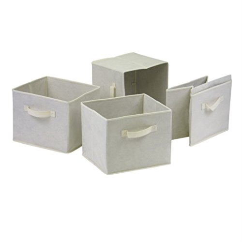 Ergode Capri 2-Section M Storage Shelf with 4 Foldable Beige Fabric Baskets