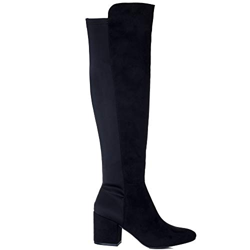 Stretch Avva Heel Suede Knee Black Over Boots Women's Tall Style Spylovebuy Block 0dq0H