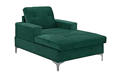 """Divano Roma MidCentury Upholstered Chaise Lounge 54.7"""" inches"""