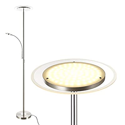 """DEWENWILS 71"""" LED Torchiere Floor Lamp with Reading Light, Glass Light Diffuser, Dimmable Uplight, Tall Standing Modern Pole lighting for Living Room Bedroom Office, Compatible with Smart Plugs/Timers"""