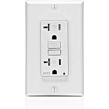AFCI White Renewed 120-Volt SmartlockPro Outlet Branch Circuit Arc-Fault Circuit Interrupter Leviton AFTR2-W 20-Amp Receptacle