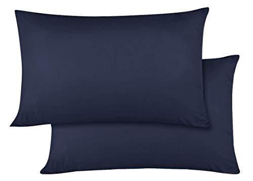 Travel Pillow Case 14x20 Size Natural Cotton Zipper Pillow Cases Set of 2 Travel Pillowcase 600 Thread Count 100% Egyptian Cotton 2 Pack, Toddler Pillowcase Navy Blue Solid Zipper Closer