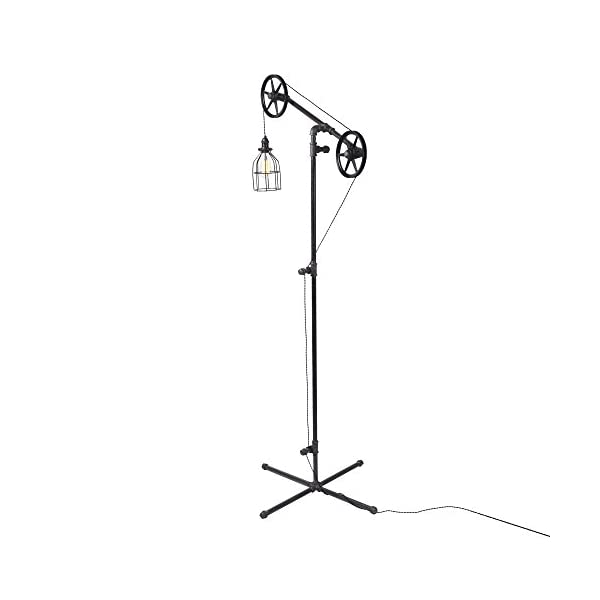 West Ninth Vintage Black Pendant Industrial Standing Floor Lamp with Black Steel Wheels - Use in Any Room - Add Character to Your Office, Living Room or Bedroom 4