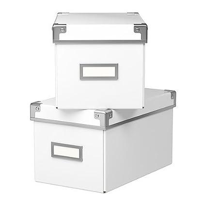 KASSETT 16x26x15 cm Paquete de 2 Cajas Blancas con Tapas para Almacenamiento (Apto para almacenar