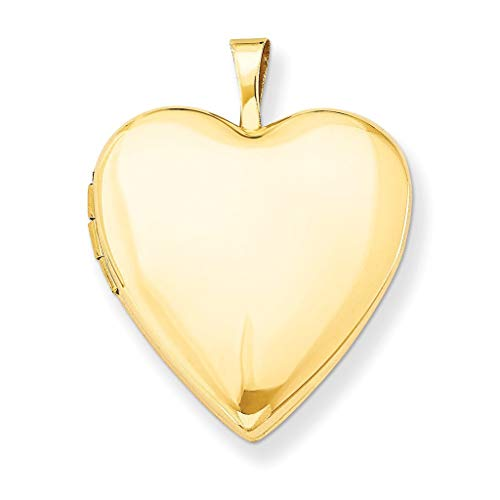 Pori Jewelers 14K Solid Yellow Gold Heart Locket Pendant- Perfect for Holding Photos, Messages, Sentimental s ()