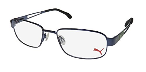 Puma 15417 Mens/Womens Flexible Hinges Color Combination Collectible Hip Optimal TIGHT-FIT Designed For Active Lifestyles Eyeglasses/Eyewear (51-17-135, Blue/Lime) (Gold-designer-brille)