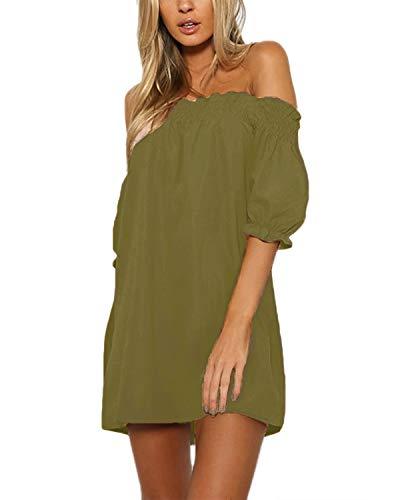 (YOINS Women Dress Solid Off Shoulder Tunics Short Sleeves Backless Summer T Shirt Blouse A Line Mini Dresses Army Green)