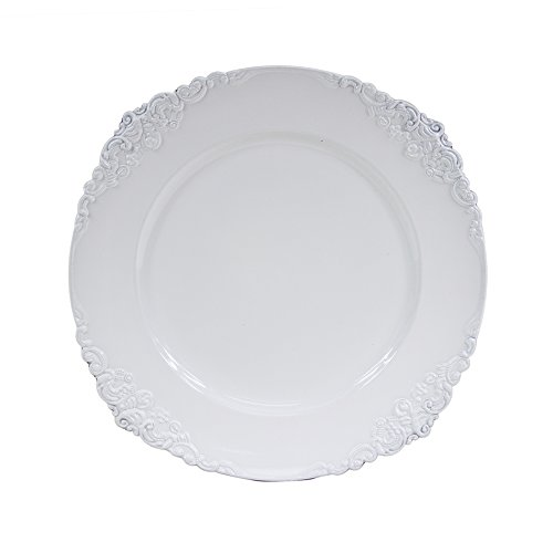 Lacquer Charger - Koyal Wholesale Vintage Charger Plate, White (Pack of 4)