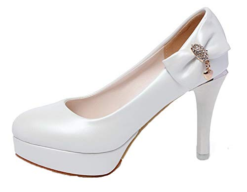 Tonda AllhqFashion FBUIDD006416 Bianco Puro Tirare Donna Flats Ballet Punta wAApInrq