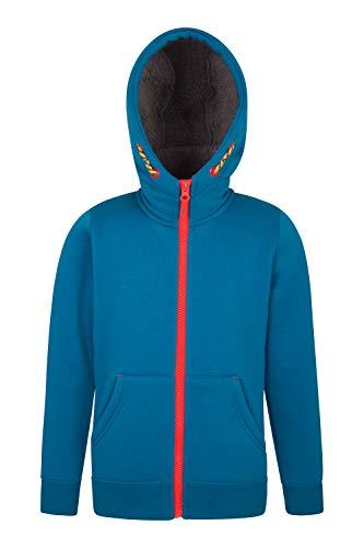 Zip Fur Hoody - Mountain Warehouse Nordic Fur Lined Full Zip Hoody - Fleece Hoodie Petrol Blue 9-10 Years