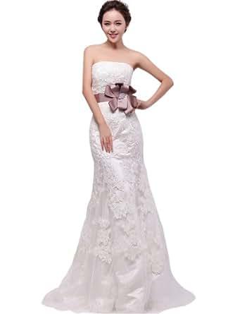 VILAVI Women's A-Line Lace Sweep Sashes Wedding Dresses 8 White