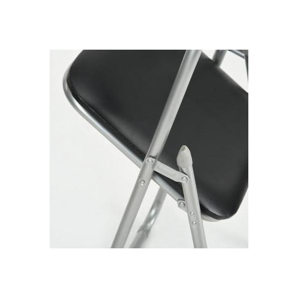Lot de 6 pliable et matelassée Chaises fauteuils de bureau pliants en faux cuir assortis Noir