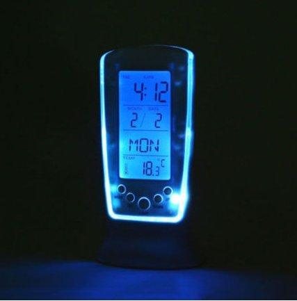 New!! Digital Thermometer LED Alarm Clock Calendar Blue Backlight Desktop