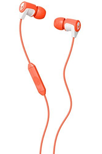 Skullcandy SCS2RFGY-436 Riff 2015 In-Ear Headphone with In-Line Microphone-Coral/White