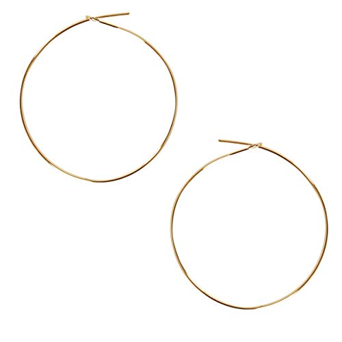 Yellow Gold Dangling Threader Earrings - Humble Chic Round Hoop Earrings - Hypoallergenic Lightweight Wire Threader Loop Drop Dangles for Women, Safe for Sensitive Ears, 18K Yellow - 1.5 inch, Gold-Electroplated, Medium