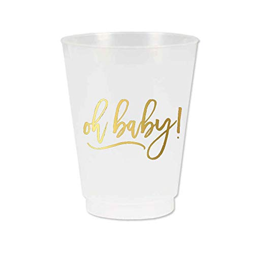 Oh Baby Cups, Baby Shower Cups, Frosted Plastic with Metallic Gold Ink, Oh Baby Baby Shower Theme Decor, Set of 10]()