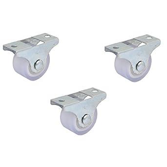 eDealMax Muebles de la carretilla 1 pulgada Dia del Hierro Placa Superior silenciosa PVC fijo 3pcs