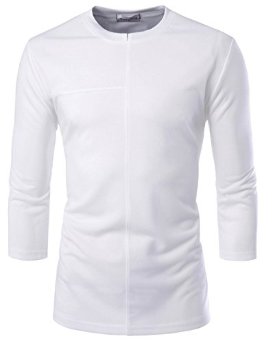 NEARKIN NKNK7T84 Mens 3/4 Sleeve Slim Fit Round Neck Casual T-Shirts White US L(Tag Size L)
