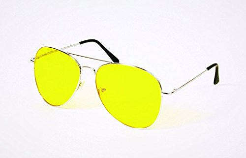 Bargain Crusader Night Vision Night View NV Glasses Yellow Glasses Sunglasses Glasses Aviator Polarized Sunglasses Anti-Glare Driving Eyewear Block Nighttime Glare Reduces Eye Strain (Yellow, ()