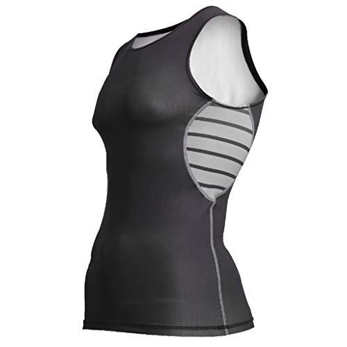 Men's Vest Tank Beautyfine Sexy Slim Stripe Printed Sport Sleeveless Shirts Tee Round Neck Black