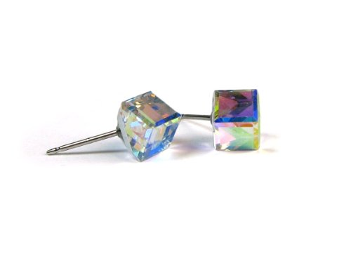 Swarovski 6 Mm Cube (Aurore Boreale Tilted Cube Finest Austrian Crystal Earrings, 6mm)