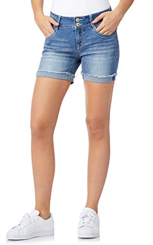 WallFlower Women's Juniors Embellished Pockets Luscious Curvy Midi Shorts in Paola, 9