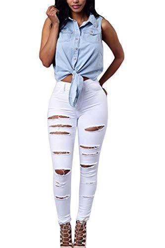 White Pantalons Dchirs Poche Destoryed Denim Les yulinge Jeans qfHwRBvnx