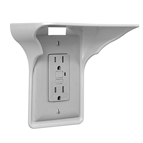 BeraTek Industries Storage Theory | Power Perch | Ultimate Outlet Shelf | Easy Installation No Additional Hardware Required | Holds Up to 10lbs | White Color | Single Shelf