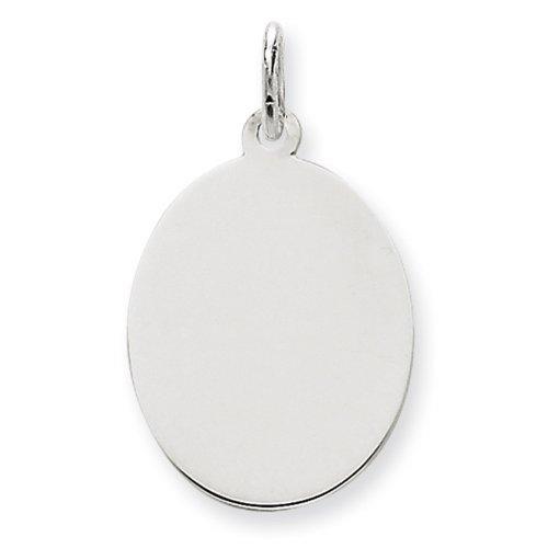 Icecarats Créatrice De Bijoux En Or 14K Blanc Ordinaire 0,011 Jauge Ovale Charme De Disque Gravable