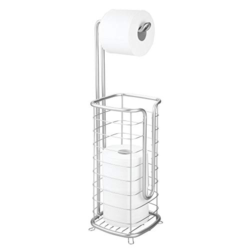 mDesign Metal Free Standing Toilet Paper Holder Stand and Dispenser, with Storage for 3 Spare Rolls of Toilet Tissue While Dispensing 1 Roll for Bathrooms/Powder Rooms - Holds Mega Rolls - Chrome ()