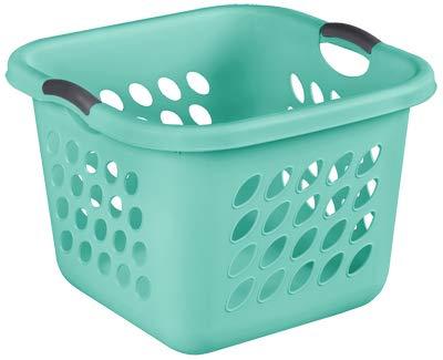 - STERILITE 12177906 1.5 Bushel Ultra Square Laundry Basket Aqua Chrome - Quantity 1