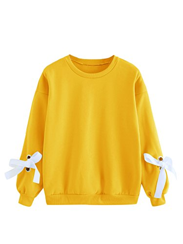 Eyelet Tie Sleeve Round Neck Sweatshirt Pullovers Top Yellow M ()