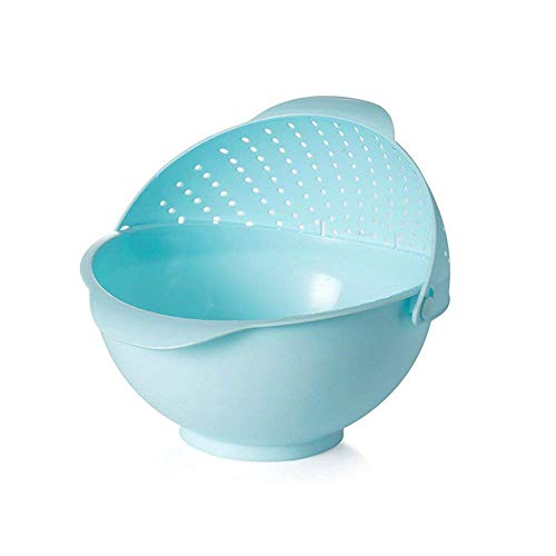 Lucky Box Premium Plastic Grains Pulses Fruits Vegetable Noodles Pasta Rice Washing Bowl   Strainer with Handle Washer and Colanders, Assorted Colors