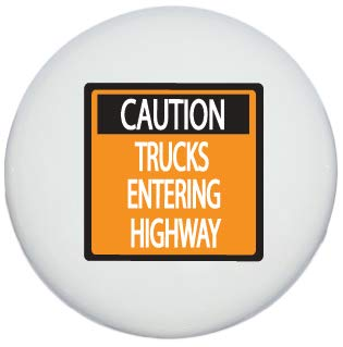 Highway Construction Signs - Single Caution Construction Trucks Entering Highway Street Sign Drawer Knobs Ceramic Road Signs Cabinet Handle Pulls