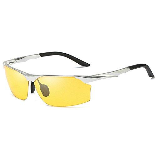 de Tamaño Metal GAOLIXIA Hombres Yellow MG Frame Light Al Gafas Hombre One conduciendo Size Moda Sol polarizadas Color Brown para Ultra qwfwxITP