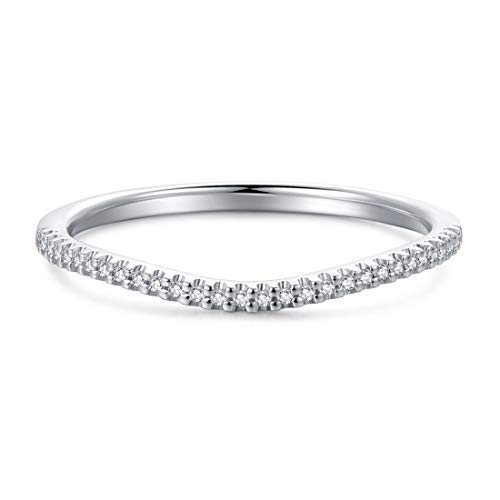 1.5mm Rhodium Plated Sterling Silver Petite Simulated Diamond Cubic Zirconia CZ V Shape Curved Half Eternity Wedding Ring, 1/10 cttw (9.5)