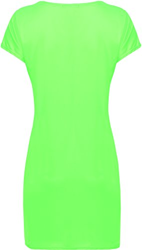 WearAll courtes tailles manches Fluorescent Mini style Robes Femmes t du Vert en 48 44 shirt robe serre Grandes 1ISRxr1
