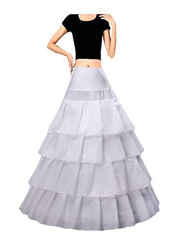 YUAKOU Women's Ruffles 4 Hoops Petticoat Underskirt for Bridal Wedding Gown Evening Dress (Ruffles White)