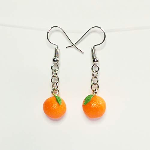 Oranges Earrings Faux Food Drink Jewelry Halloween Christmas -