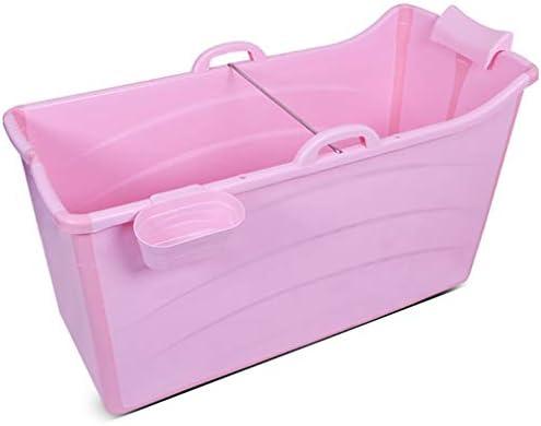 家族浴室用エアーポンプ付きインフレータブルバスPVC折りたたみポータブルインフレータブルバスタブブローアップエアバスタブPVC滑り止め (Color : Pink, Size : A)