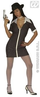 [Ladies Gangster Girl Costume Extra Large Uk 18-20 For 20s 30s Mob Capone Bugsy] (Italian Mob Costume)