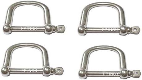 Grillete recto de acero inoxidable 316 extragrande, 5 mm, acero inoxidable A4 (lote de 4)