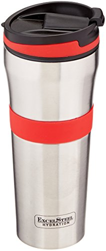 ExcelSteel Double Wall Stainless Steel Coffee Tumbler with Silicone Grip, Red ()