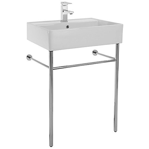 Scarabeo 8031/R-60-CON-One Hole Teorema Rectangular Ceramic Console Sink and Polished Chrome Stand, White Brass Console Sink Stand