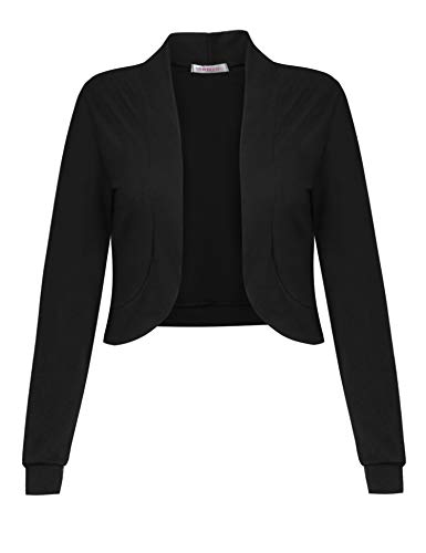 Sufiya Womens Long Sleeve Short Cardigan Slim Fitted Cropped Open Front Bolero ()