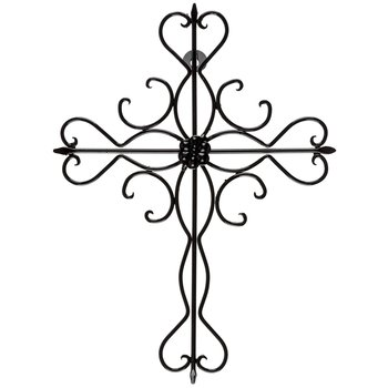 Aunt Chris' Products - Sleek Iron Cross - Wall Mounted Decor - Small Flower In The Middle - Use Indoor Or Outdoor - Sleek Cross